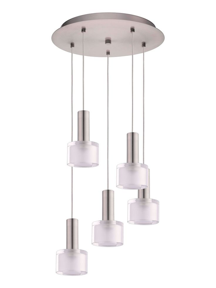Pharos 5 Light LED Pendant in Brushed Chrome