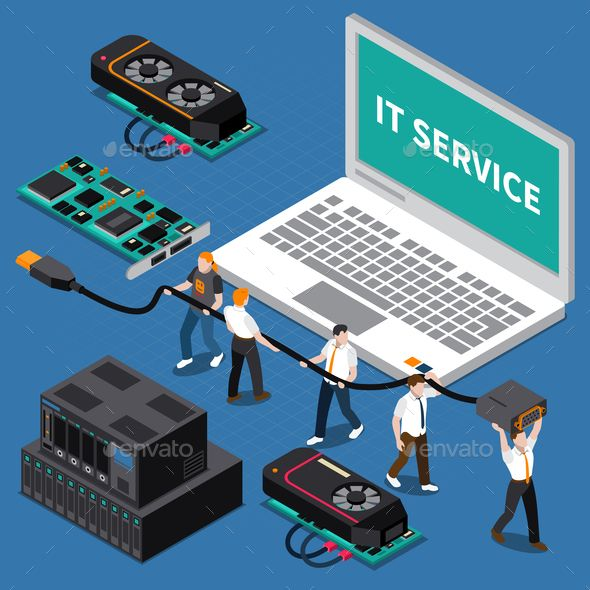 Isometric It People Concept Information Technology Medical Technology Information Technology Services