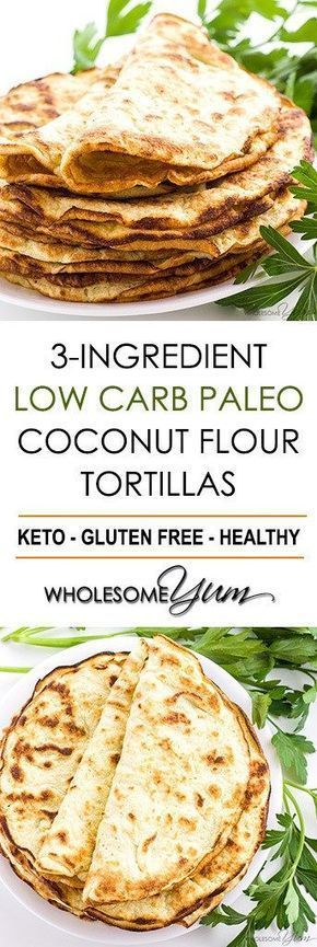 Keto friendly Tortillas Recipe with Coconut Flour (3 Ingredients) - If you're looking for easy coconut flour recipes, try paleo low carb tortillas with coconut flour. #ketowraps #ketotortillas