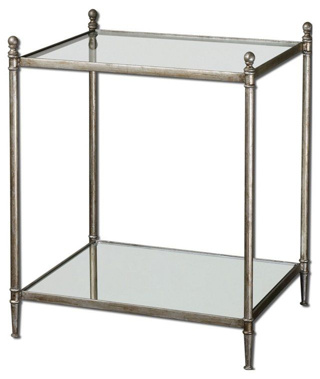 Alma Mirrored Side Table, Silver