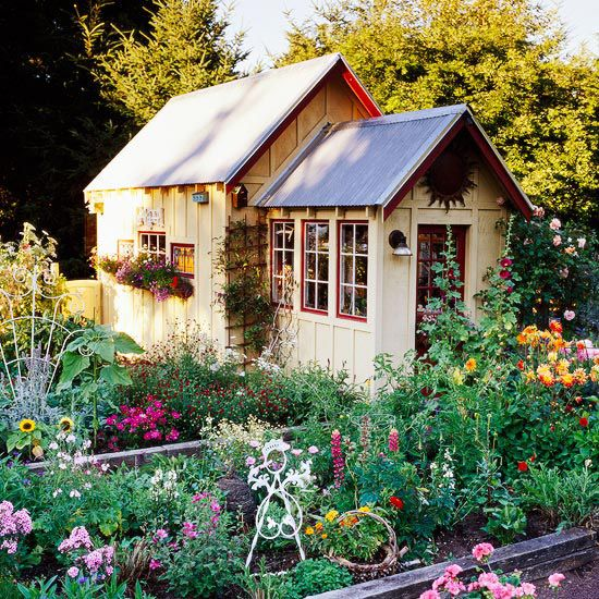 Cottage garden with storage shed