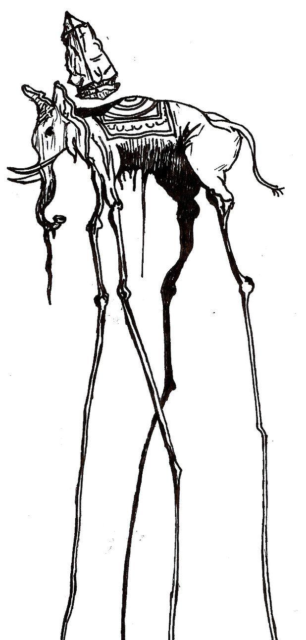 Salvador Dali ELEPHANT! Un tatuaje con nítido y con el mejor arte de Dalí