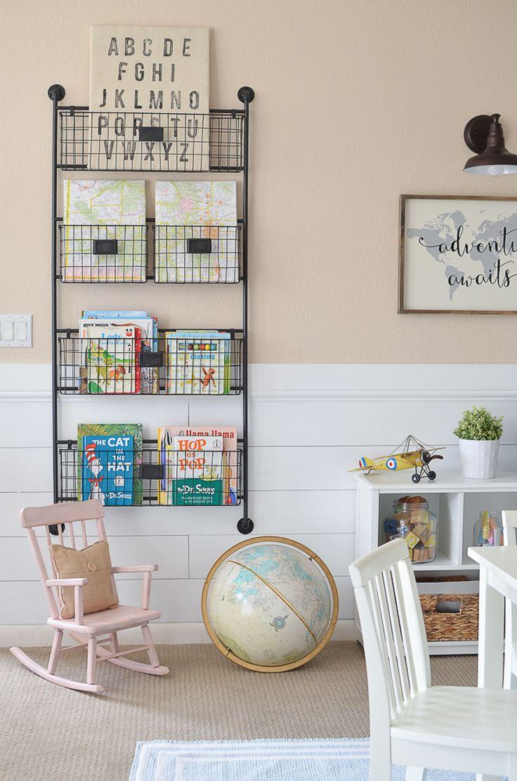 Modern Farmhouse Playroom Makeover. Adorable farmhouse style decor in kid's playroom. Book Storage   Kids Furniture