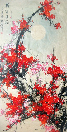 Oriental Asian Art Chinese Painting Pin Plum Blossoming.  Pink and red, beautiful.