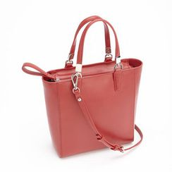 Royce Leather RFID Blocking Saffiano Leather Tote Cross Body Bag - Red