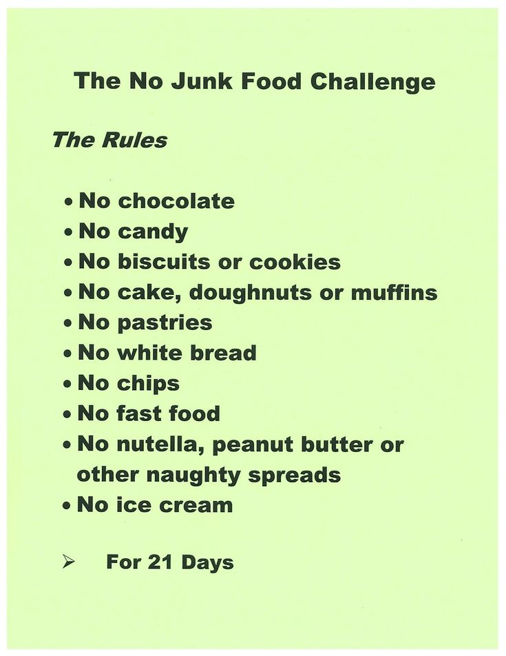 "Previous pinner said: No Junk Food Challenge. Sounds reasonable but I disagree about the peanut butter. Peanut butter is supposed to be quite good for you. Not all foods that are high in calories are bad for you (ex. Avocados)."" I agree, but if you make HEALTHY peanut butter it is really good for. Good, healthy energy. We make it our thermomix  :)"