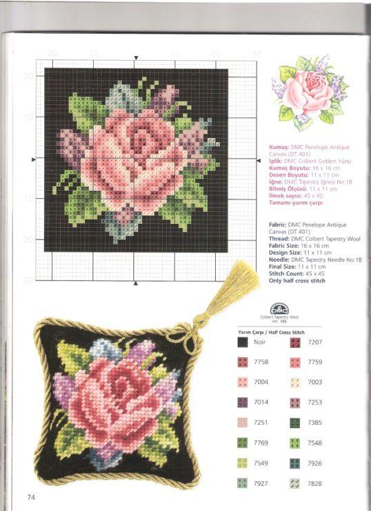 """11x11cm or 45x45 stitches or 4.33""""x4.33"""" Need 16x16cm fabric or 6.3""""x6.3"""" fabric  Gallery.ru / Фото #59 - Kanavice Foral Elegance - tymannost"""