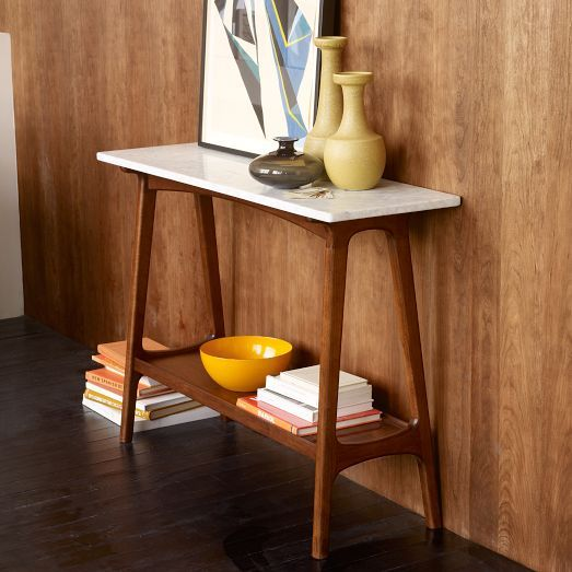 In LOVE with this table. Would go so well with our mid-century chair and bone/marble accents in living room. Reeve Mid-Century Console | west elm