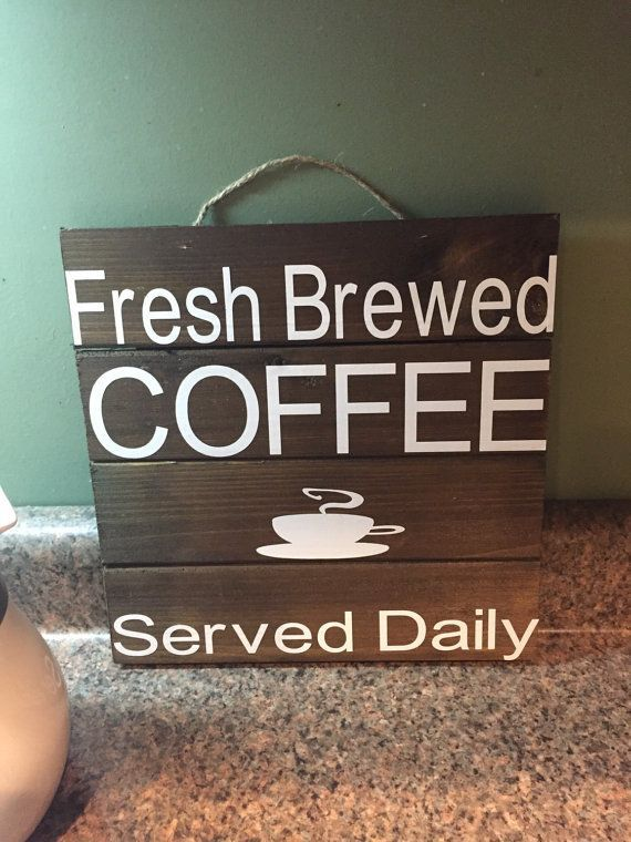 Rustic coffee sign Vintage Coffee Fresh Brewed by CarmelOakDesigns