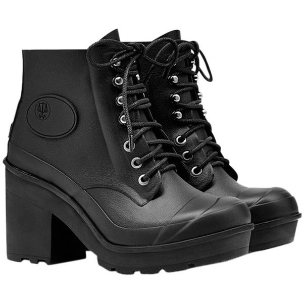 Pre-owned Hunter New Bullseye Lace Up Platform Rain Size 5 Black Boots ($152) ❤ liked on Polyvore featuring shoes, boots, black, rain boots, wellington boots, black boots, platform boots and lug sole boots