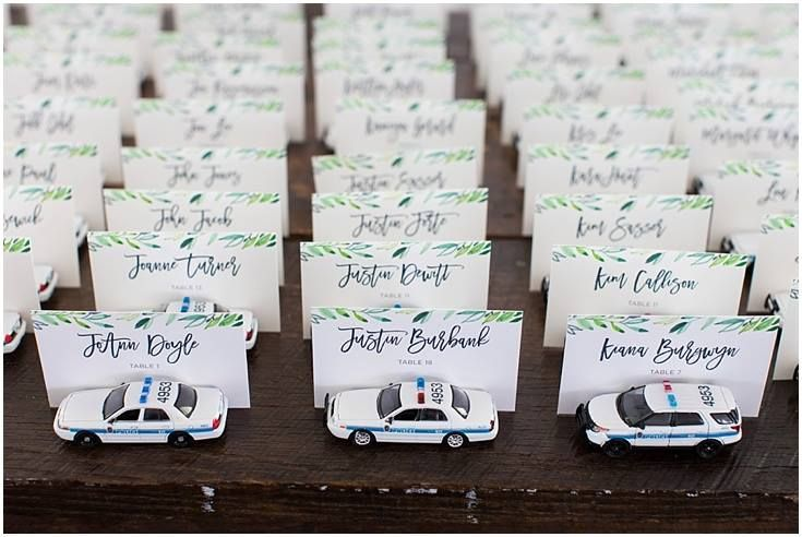 Awesome place cards for a police officer's wedding law enforcement wedding Photos by Lauras Focus Photography www.charminggraceevents.com
