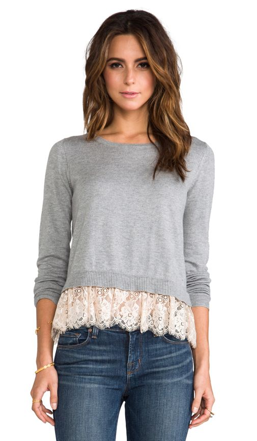 Alice by Temperley Odille Frill Jumper in Grey Mix   REVOLVE