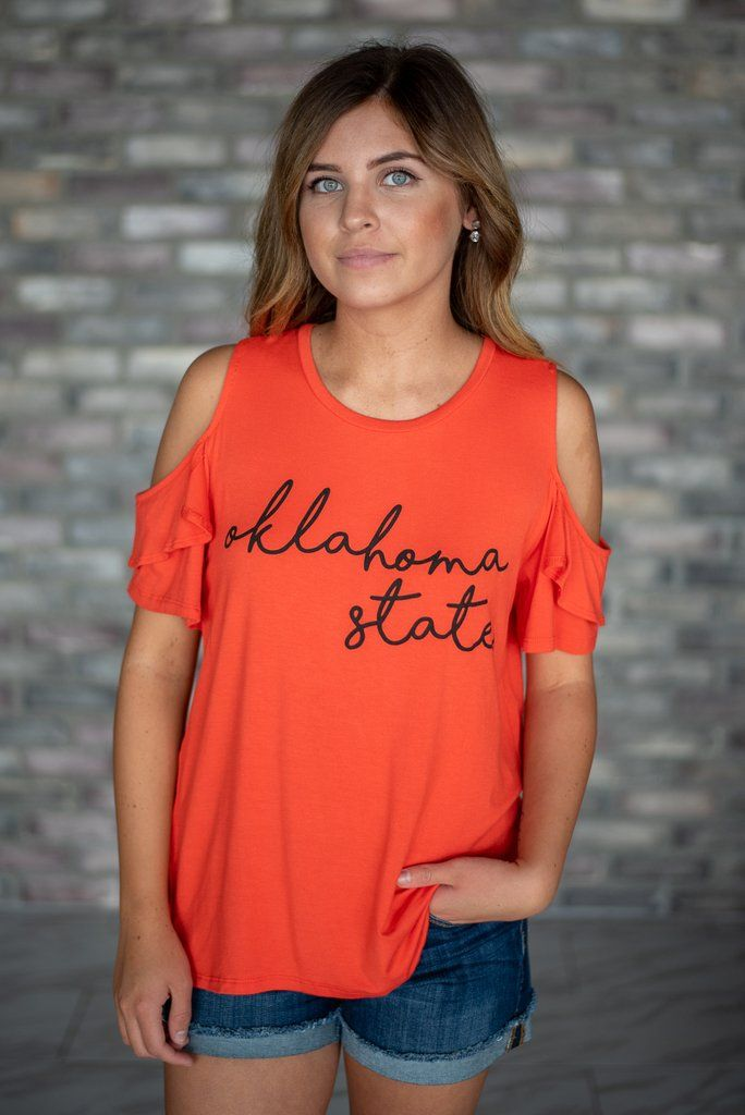 ea3097e6565369 Oklahoma State Cold Shoulder Top available at J. Lilly's Boutique or  jlillysboutique.com