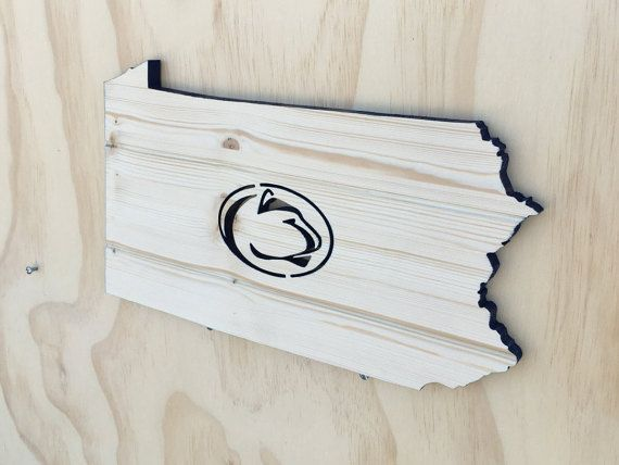 Penn State Nittany Lion State Wood Cutout by SkipToothCreations