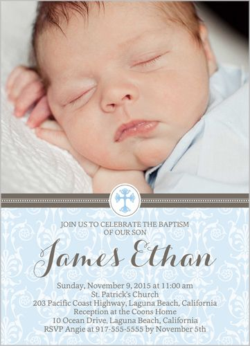 Elegant Cross Boy 5x7 Christening Invitations Baptism Pinterest