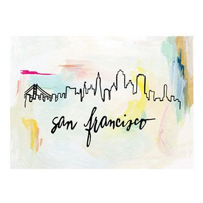 "The San Francisco skyline against abstract brush strokes. Original illustration with hand lettering by Patricia Shen. - 5"" x 7"" - Printed in full color on heavyweight cover paper"