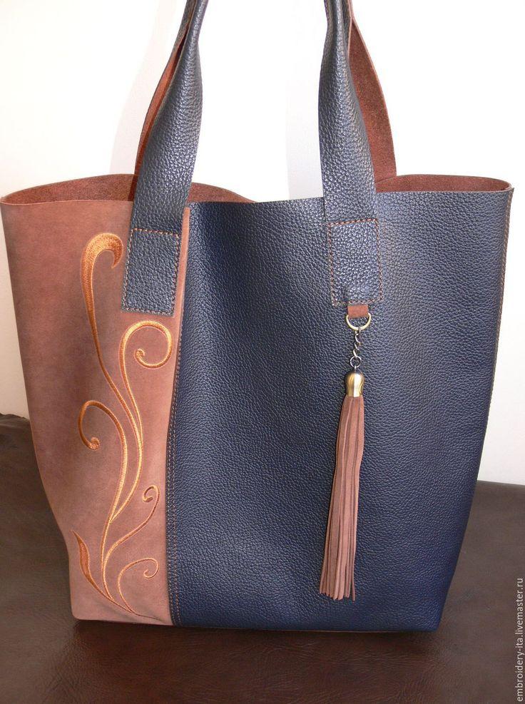 Купить Сумка кожаная женская большая. Сумка-шоппер мод. 030 - сумка ручной работы