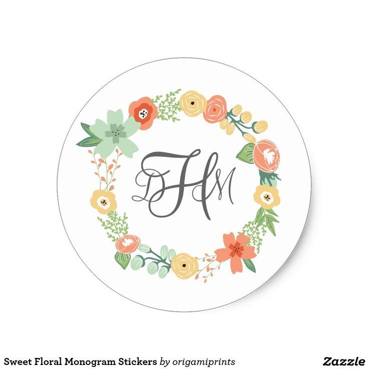甘い花のモノグラムのステッカー 丸形シール・ステッカー