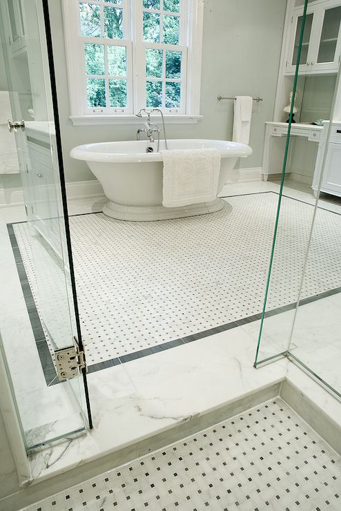 Stunning Bathroom With View From Walk In Shower With Basketweave Marble Tiled Shower Floor And
