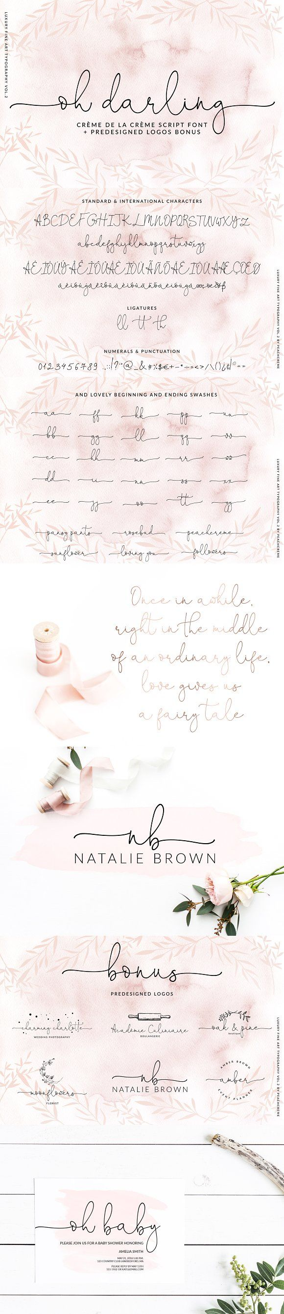 Oh Darling- Ethereal Script Font by PeachCreme on @creativemarket