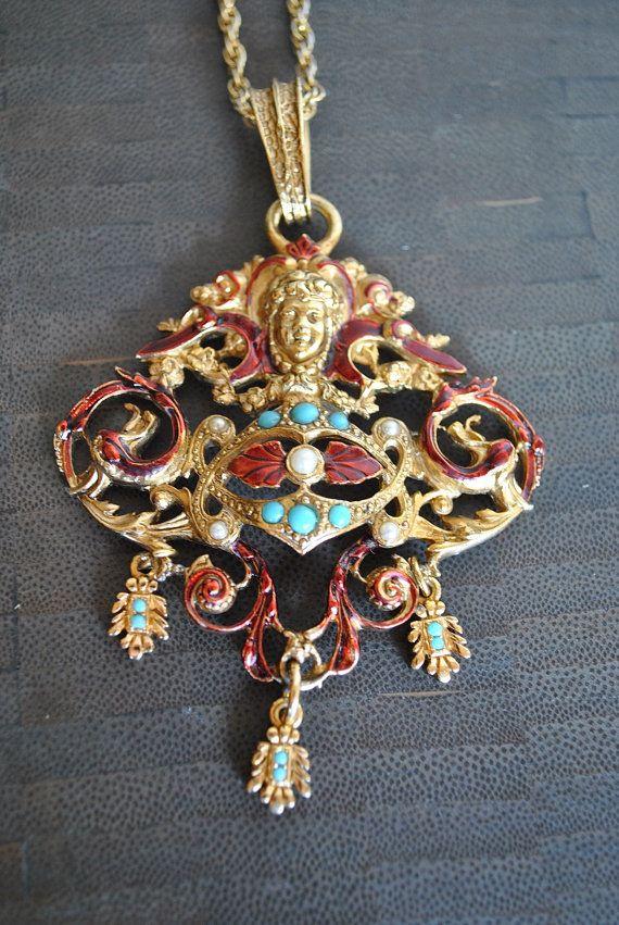 Collana di Cherubino smalto turchese VINTAGE
