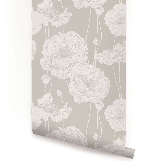 Peony Beige Peel & Stick Fabric Wallpaper by AccentuWall on Etsy
