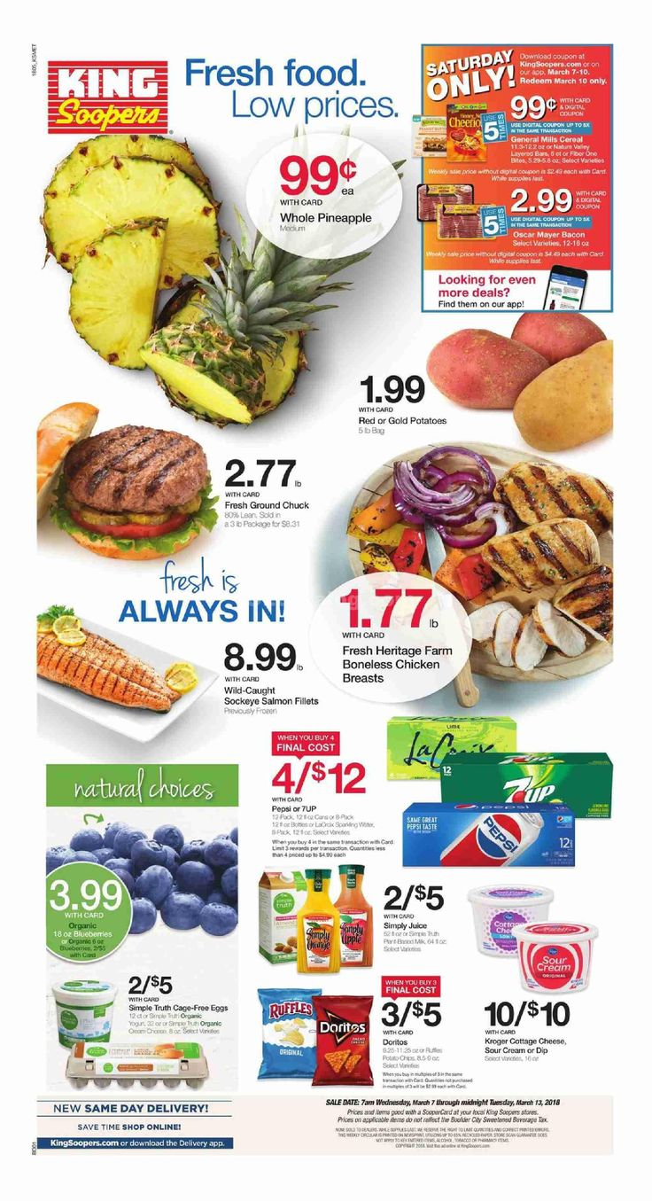 King Soopers weekly ad March 7 – 13, 2018 – Grocery, King Soopers weekly ad becomes mainstream almost every week but very often people see the Grocery, King Soopers ad and they are quick to throw it out. Checking the ads just about every week and clipping out of the coupons that can within the weekly ad circular can actually be a very rewarding experience. Grocery, King Soopers regularly includes coupons which could equate his almost as much ast 50% off your purch