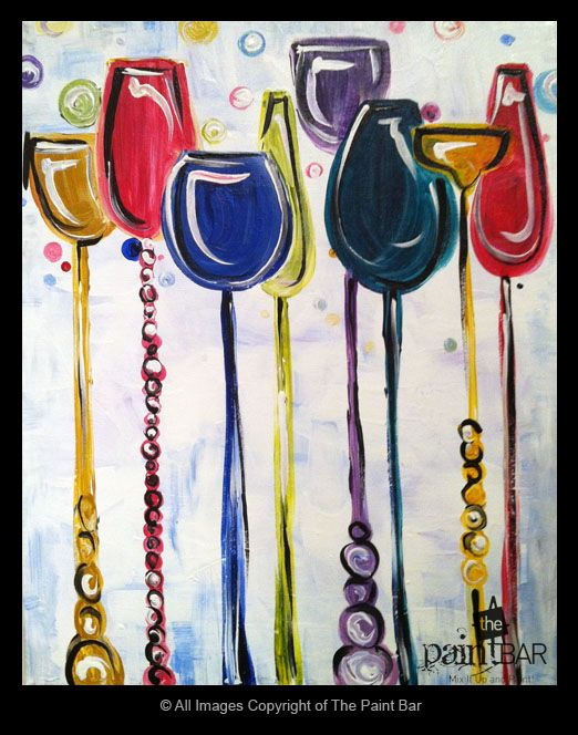 Funky Wine Glasses Painting