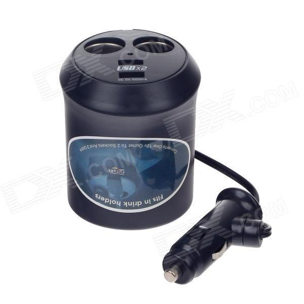WF-0309 1-to-2 Car Cigarette Lighter Power Splitter Adapter w Dual-USB Output - Black (DC 12  24V).jpg