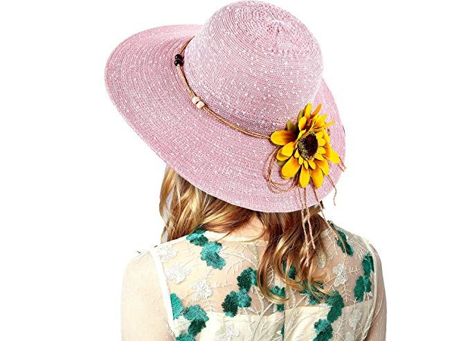 8378751a Women's Straw Hat Sunflower Weaved Crushable Beach Embroidered Quote Floppy  Brim Sun Hat Review