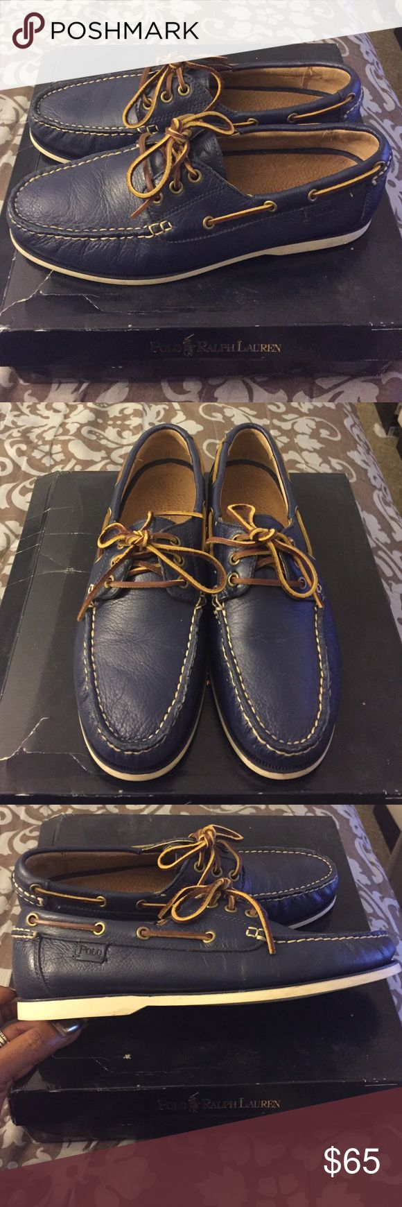 Ralph Lauren Polo Boat Shoes Leathers Ralph Lauren Polo Boat Shoes, Navy Blue Leather, Brown Leather ShoeStrings...These shoes are in pristine condition, no scratches, scrapes or scuffs, absolutely no wear on these  babies ‼️, box a little beat up Polo by Ralph Lauren Shoes Boat Shoes