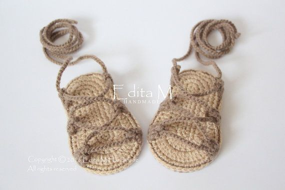 Crochet baby sandals gladiatorbooties shoesbaby by EditaMHANDMADE
