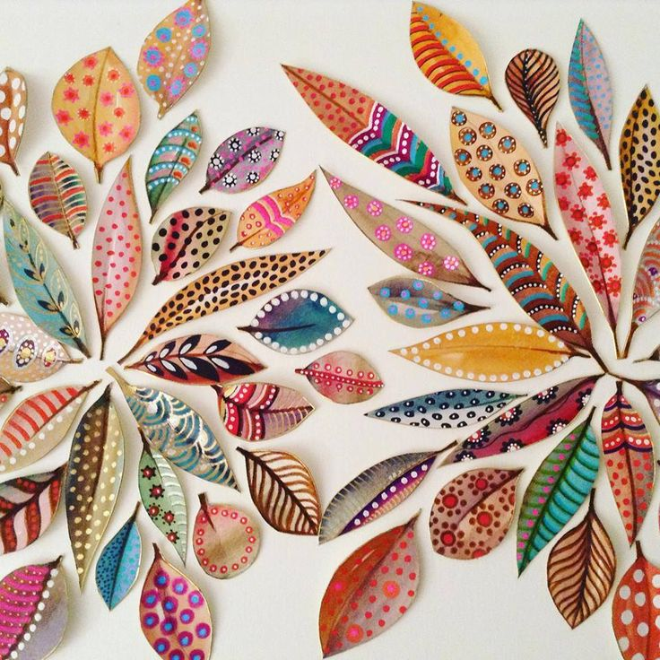 I love the patterns and colors on these handpainted leaves! lovely painted leaves from the fall