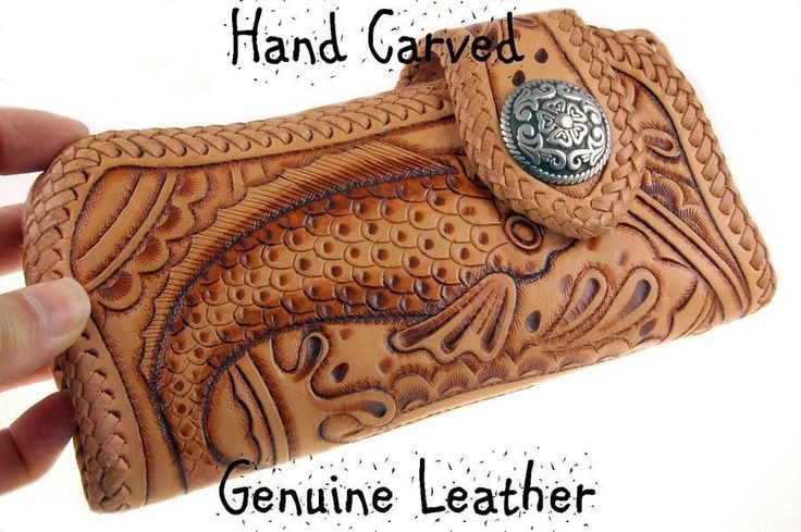 2CW-025 Finely Crafted Hand Carved Genuine Leather Motor Biker Bifold Men Wallet