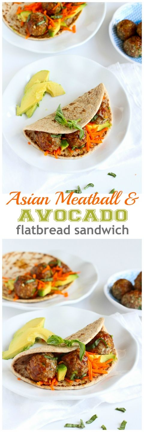 Asian Meatball and Avocado Flatbread Sandwich Recipe...Amazing flavors! 341 calories and 9 Weight Watchers PP | cookincanuck.com