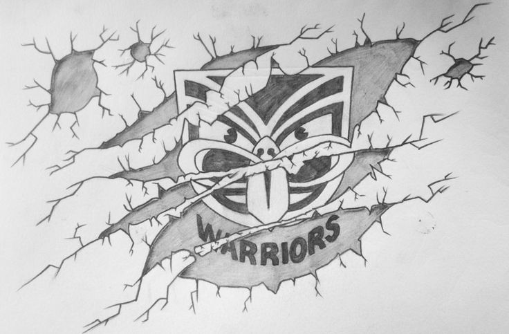 Vodafone Warriors inspired artwork by Robby Payne #drawing #logo #pencil #art #warriors