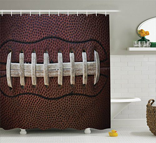 Themed Sports Shower Curtain..Sports Decor Collection, American Football Theme Polyester Fabric Bathroom Shower Curtain Set with Hooks, Ivory Black Dark Brown