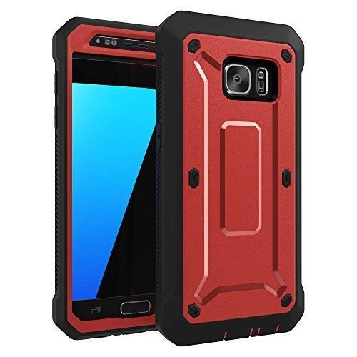 Galaxy S7 Case ToughBox [Shield Series] [Shockproof] [Red] for Samsung Galaxy S7 Case [Built in Screen Protector] [With Holster & Belt Clip] [Has Kickstand]