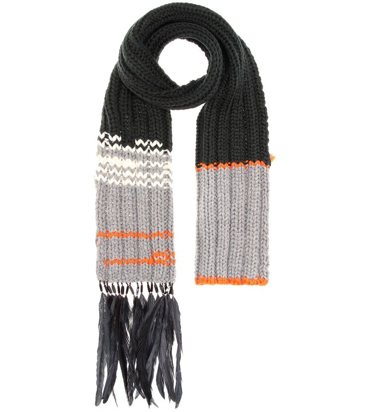 Prada - Feather-trimmed wool scarf - Prada's scarf has been knitted in Italy from pure wool and is enhanced by rustic stripes in cream and orange. Notice the tactile feather details at the end – a romantic finishing touch. seen @ www.mytheresa.com