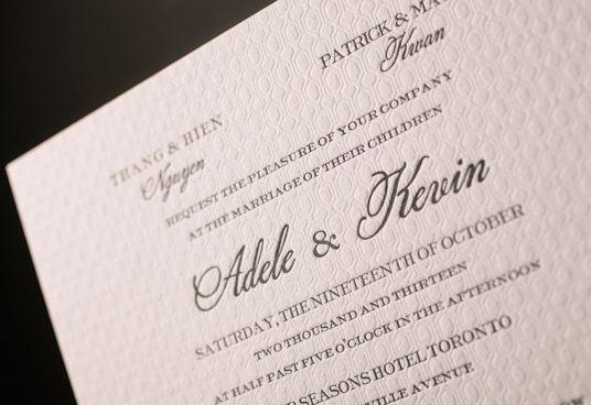 Modern and Minimal Deveril letterpress wedding invitations