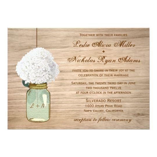 Country Rustic Mason Jar Hydrangea Wedding Card. 40% OFF when you order 100+ Invites. #Zazzle #Invitation #MasonJar #Rustic