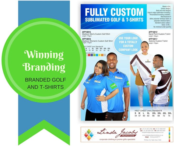 Fully custom branded golf and T-shirts #Brandyourteam linda@lindajacobspromotions.co.za 083 6280181 021 5572152
