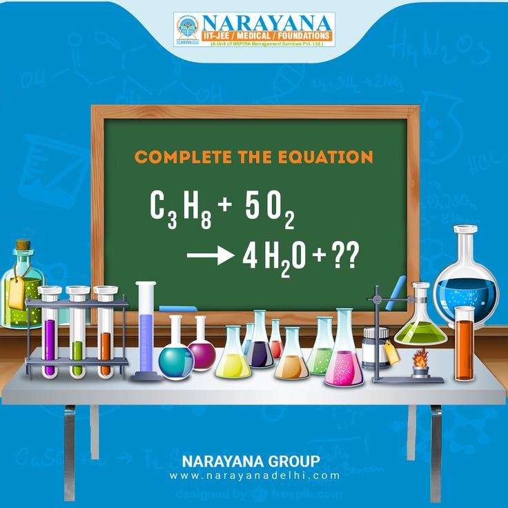 Complete the equation for combustion of propane.  #ChemistyEquation #ChemistryPun #NarayanaDelhi #ChemistryFun