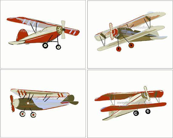 Airplane Vintage Tyson Bi Plane Art Prints Set for boy Red Brown bedding decor via Etsy