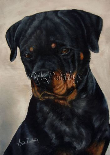 Rottweiler - FOR SALE original oil dog painting -- Anne Zoutsos