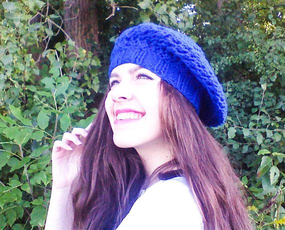 Royal blue beret hat all season hat Slouch beret by HandmadeTrend