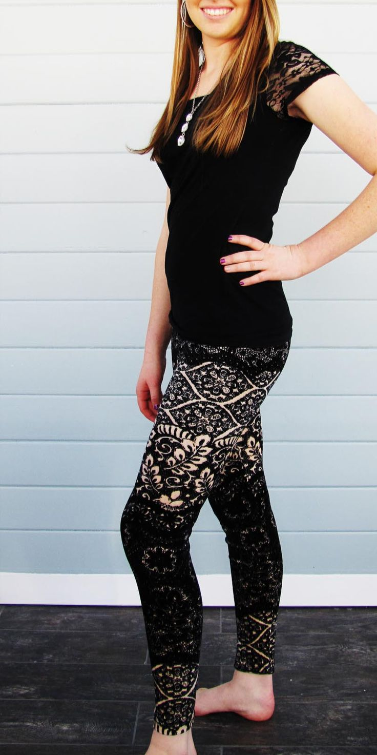 These black and cream leggings are soft and can be worn with just about anything.