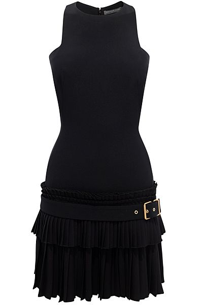 [Alexander McQueen] little black mini-dress, sleeveless, crew-neck, bodycon, gathered skirt and belt at the modern waist, high fashion