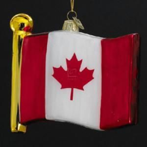 Glass Flag Of Canada Ornament