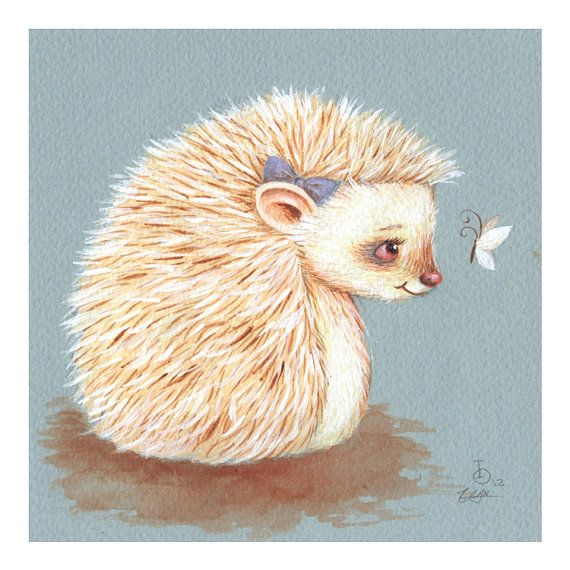 Sonnet Albino Hedgehog print from an original by TinyRed on Etsy